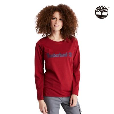 Timberland 女款勃根紅經典修身有機棉長袖圓領T恤|A2BXZ