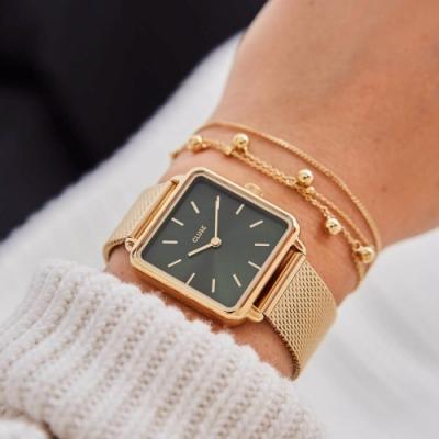 CLUSE La Tetragone 方框腕錶(金框/墨綠錶面/金色錶帶)28.5 mm
