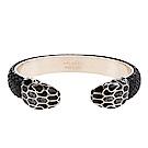 BVLGARI 寶格麗 Serpenti系琺瑯雙蛇頭金屬光澤水蛇皮手環(月銀色/S)