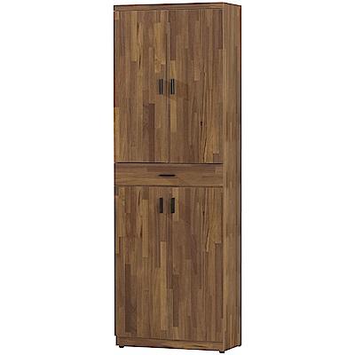 文創集 瑞斯時尚2尺四門單抽高鞋櫃/玄關櫃-60.5x32x183cm免組