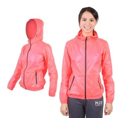 SOFO 女果凍連帽外套-抗UV 風衣 可收納 螢光橘