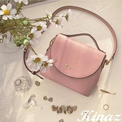 KINAZ 附束口袋掀蓋橢圓底手提斜背馬鞍包-夢幻香氣-粉紅葡萄酒系列