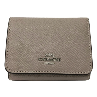 COACH 多夾層後拉鍊零錢袋短夾(冷灰色)