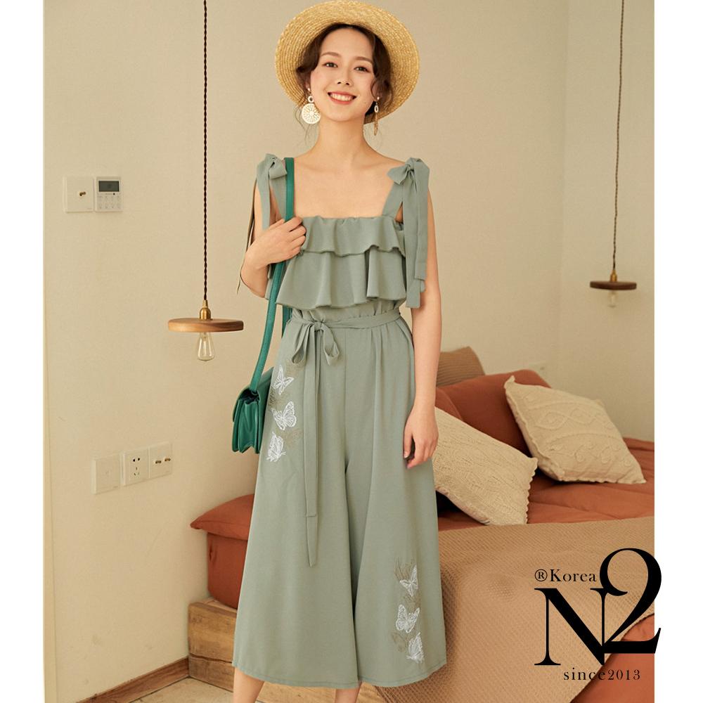 下著 蝴蝶刺繡荷葉邊波浪設計雪紡連衣褲吊帶褲(藍綠) N2