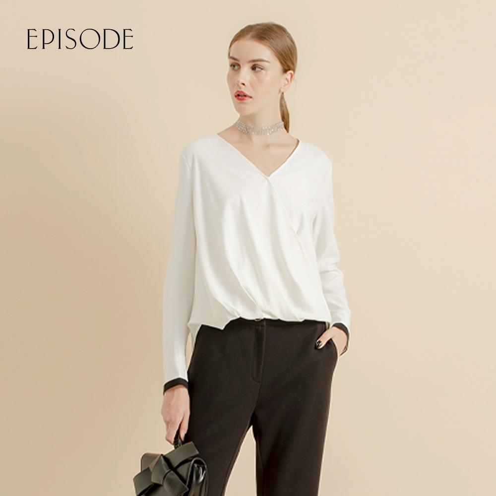 EPISODE - 白色V領褶皺顯瘦長袖雪紡上衣
