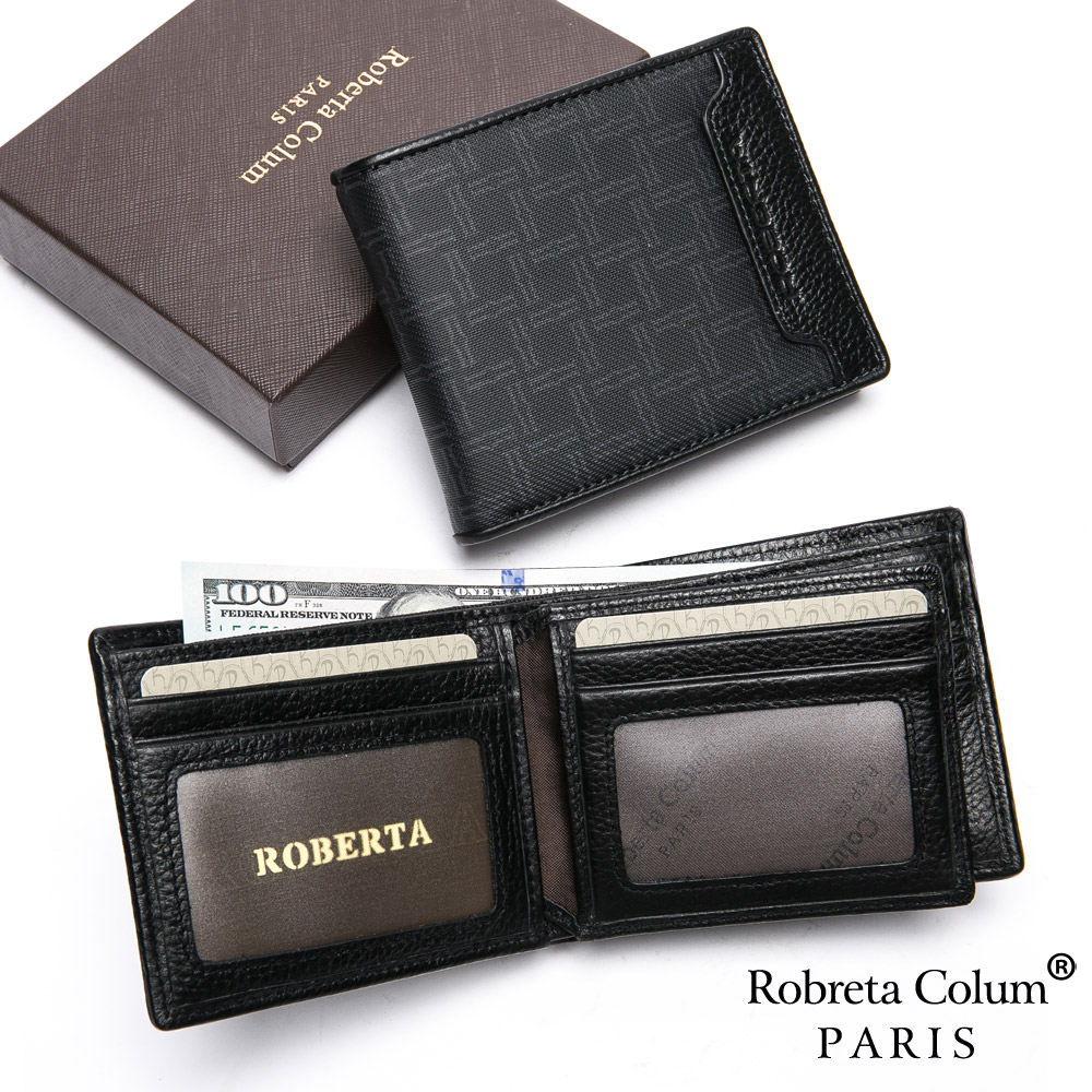 Roberta Colum - 尊爵格調頭層牛皮8卡2照左右翻短夾