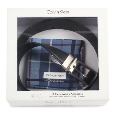 Calvin Klein 質感皮革拼接穿式釦頭皮帶帕巾禮盒-黑色