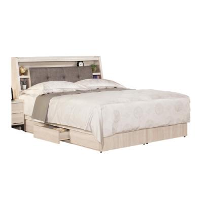 文創集 菲莉5尺棉麻布雙人床台(床頭箱+三抽床底+不含床墊)-151.5x211x102.5cm免組