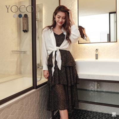 東京著衣-YOCO 柔美飄逸多色層次波浪裙襬細肩帶洋裝(共三色)