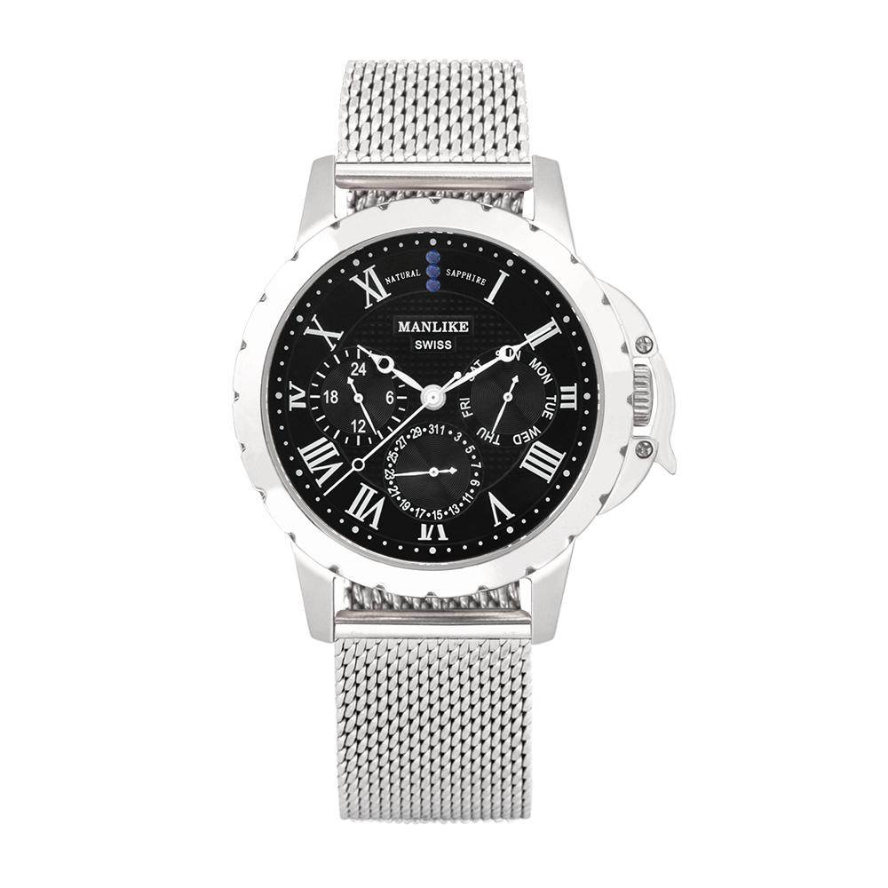 Manlike 曼莉萊克 藍寶石多功能三眼腕錶 銀色 黑面 米蘭帶