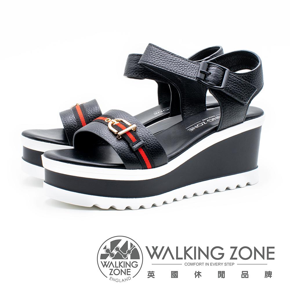 WALKING ZONE 真皮歐美裝飾繫帶楔型涼鞋 女鞋- 黑(另有白)