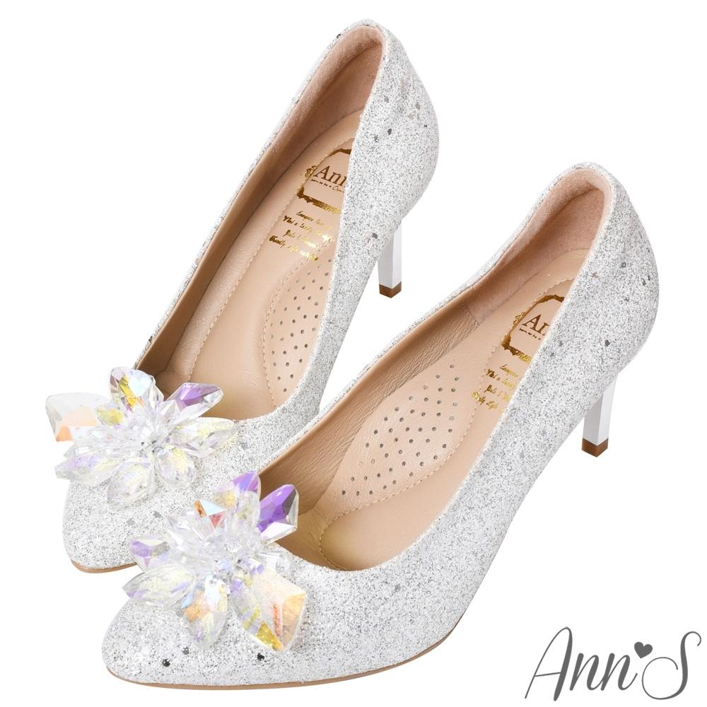 Ann'S冰雪奇緣2.0-質感立體冰鑽電鍍鞋跟尖頭高跟婚鞋
