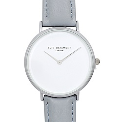 Elie Beaumont 英國時尚手錶 HOXTON系列白錶盤x亮灰色錶帶x銀框38mm