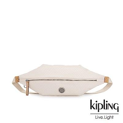 Kipling 低調米白菱格紋六角腰包-YOKU-EDGELAND系列