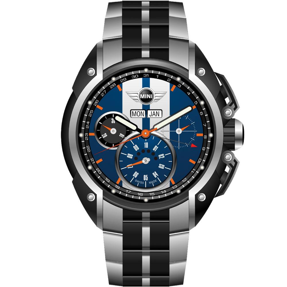 MINI Swiss Watches極速運動計時腕錶(MINI-02S)-藍/鋼帶款