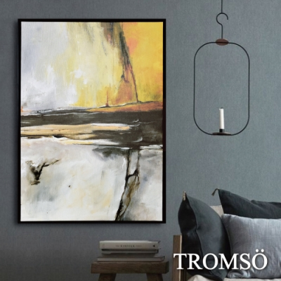 TROMSO 時尚風華抽象有框畫大幅-流金磐石W960