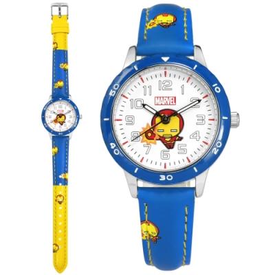 Disney 迪士尼 漫威系列 Q版鋼鐵人 兒童錶 卡通錶 皮革手錶-白x藍黃/32mm