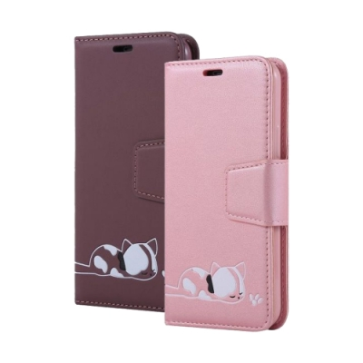 iPhone 11 Pro 磁吸式 可愛 小貓咪 可插卡 翻蓋 手機 皮套 支架 軟邊 手機殼 紫色款 (iPhone11Pro手機殼 iPhone 11 Pro保護殼 )