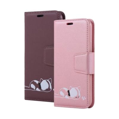 iPhone 11 磁吸式 可愛 小貓咪 可插卡 翻蓋 手機 皮套 支架 軟邊 手機殼 紫色款 (iPhone11手機殼 iPhone11保護殼 )