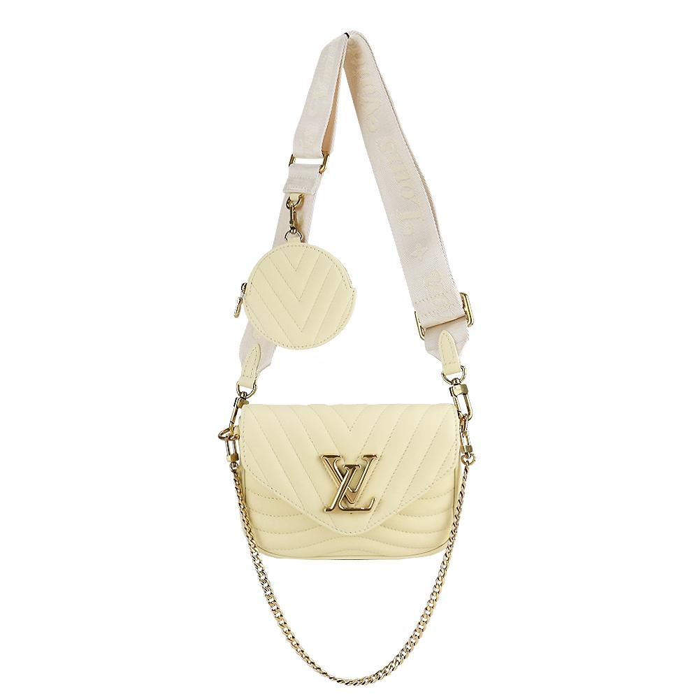 Louis Vuitton 新款NEW WAVE MULTI-POCHETTE絎縫小牛皮二合一零錢翻蓋斜背包(黃)