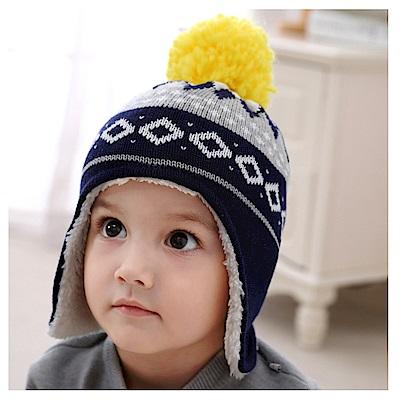 (kidwowo)歐美藏青幾何圖型保暖童帽