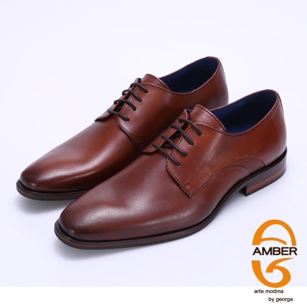 Amber 經典素面柔軟真皮紳士皮鞋-棕色
