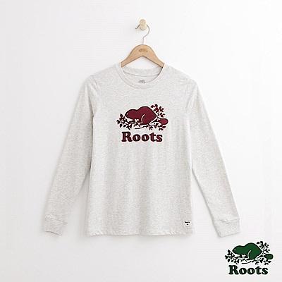 Roots -女裝- 經典庫柏海狸長袖T恤 - 白