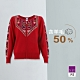 ILEY伊蕾 聖誕圖騰羊毛保暖針織外套(紅) product thumbnail 1