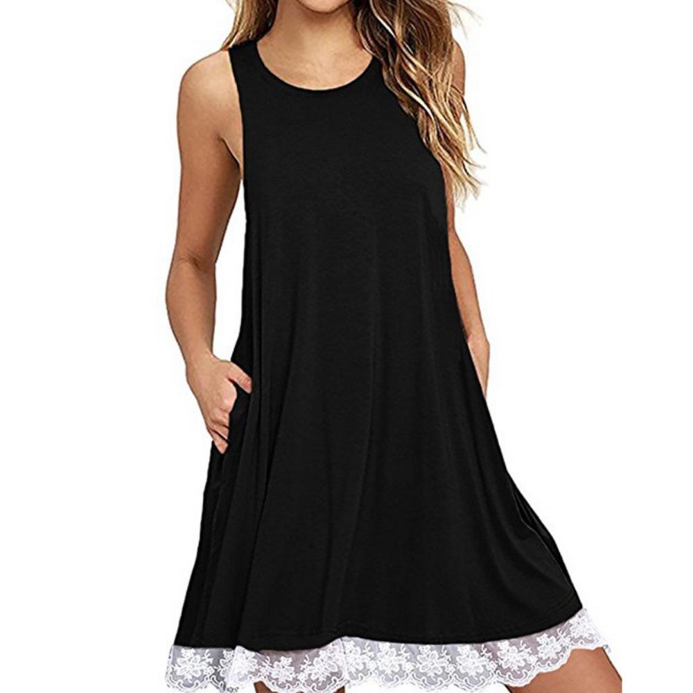 La Belleza圓領棉質側口袋下擺拼接白色蕾絲傘擺背心裙
