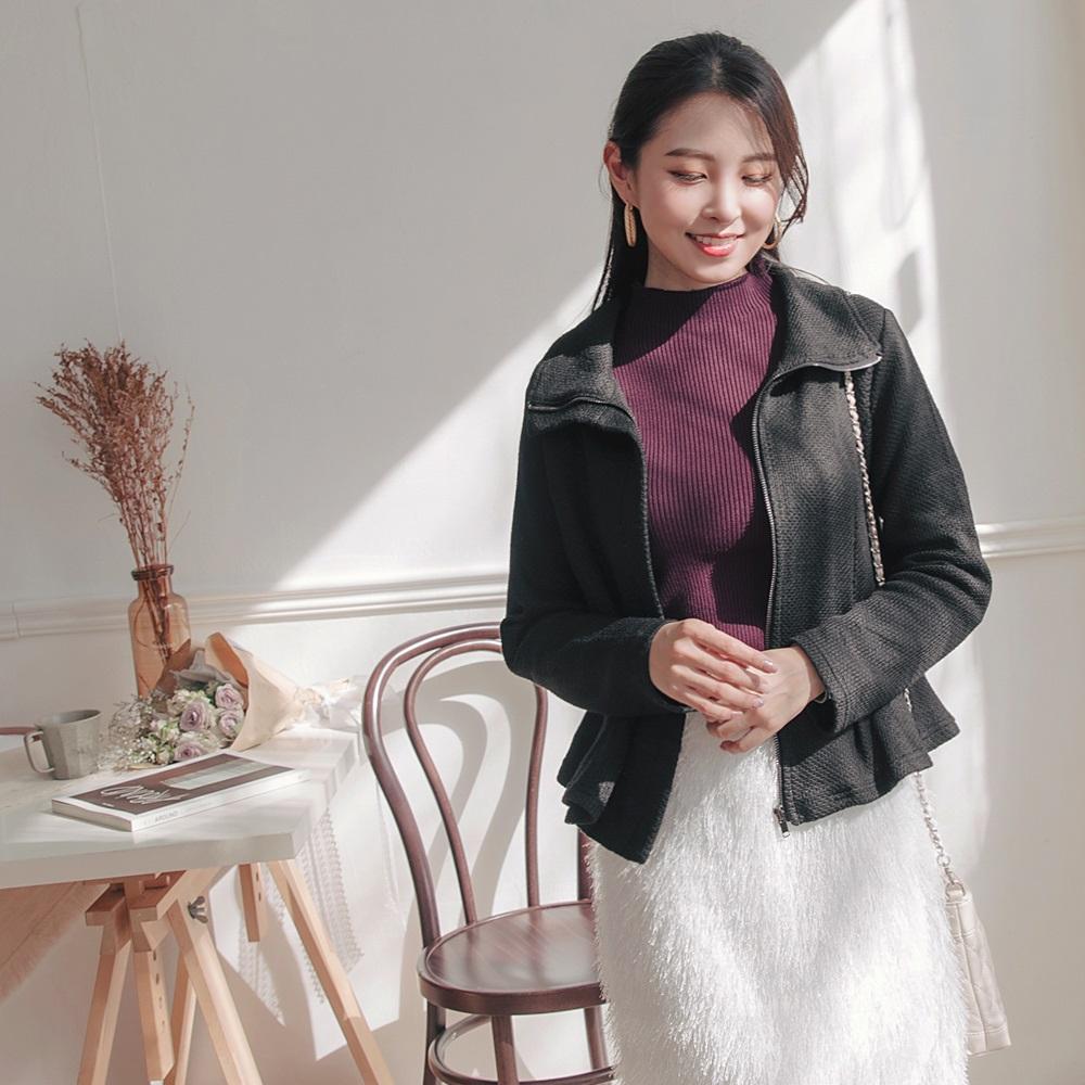 質感緹花針織傘襬高領外套-OB大尺碼