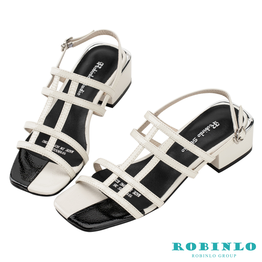 Robinlo 文藝幾何鏤空方頭低跟涼拖鞋 白色