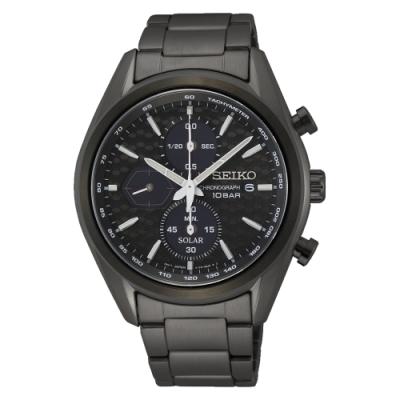 SEIKO 運動計時黑鋼太陽能腕錶V176-0BH0SD(SSC773P1)