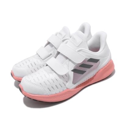 adidas 慢跑鞋 ClimaCool Vent 運動 童鞋 愛迪達 三線 涼感 透氣 魔鬼氈 中童 白 粉 EG4850