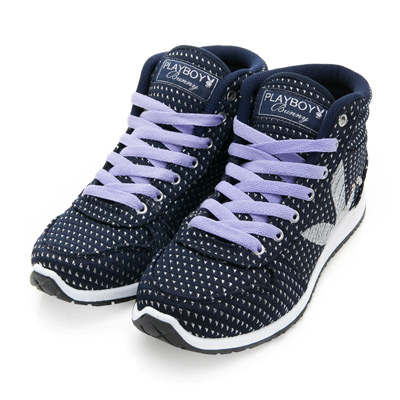 PLAYBOY街頭玩美 銀蔥高筒內增高休閒鞋-藍