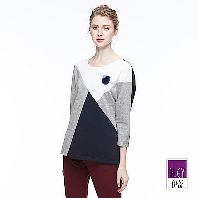 ILEY伊蕾 鑲蔥幾何剪接連袖上衣(灰)
