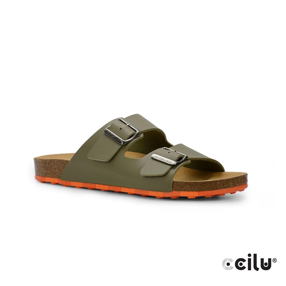 CCILU 雙帶皮革平底拖鞋-男款-801001003綠色