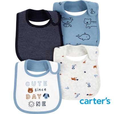 【Carter s】CUTE 動物插圖4件組圍兜(台灣總代理)
