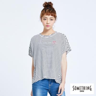 SOMETHING 印花條紋 寬鬆連袖T恤-女-黑色