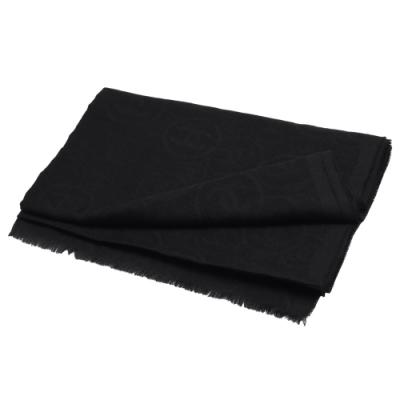 CHANEL 經典雙C LOGO喀什米爾圍巾/披肩(黑)
