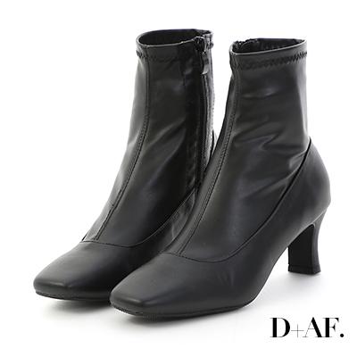 D+AF 時尚話題.素面絨料合腿高跟襪靴*黑