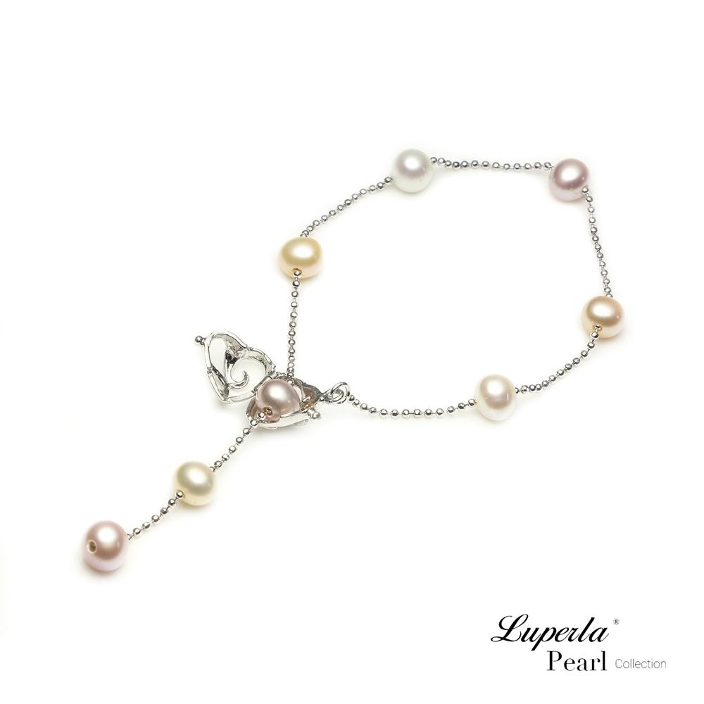 大東山珠寶 天然珍珠手鍊Y字垂鍊心型扣 摯愛濃情