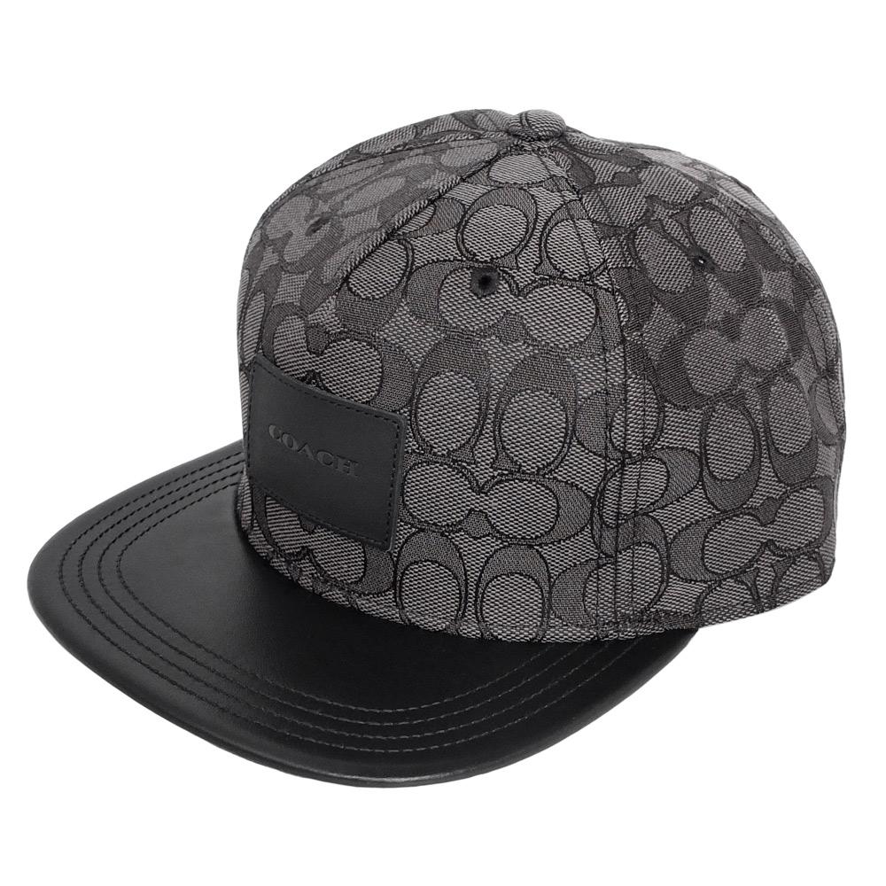 COACH鐵灰黑線C Logo拼接真皮嘻哈潮帽COACH