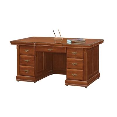 柏蒂家居-貝克蘭4.9尺主管辦公桌/工作桌(附強化玻璃)-146x83x82cm