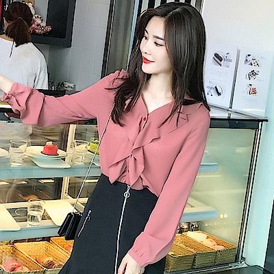 韓版雅緻純色雪紡衫-S~2XL(共二色)-白色戀人