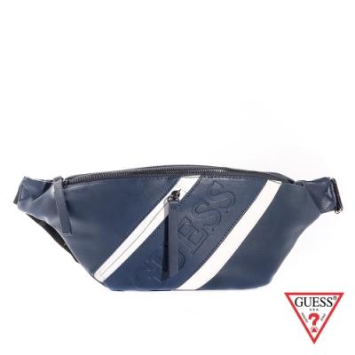 GUESS-男包-藍白斜紋皮革拉鍊腰包-藍