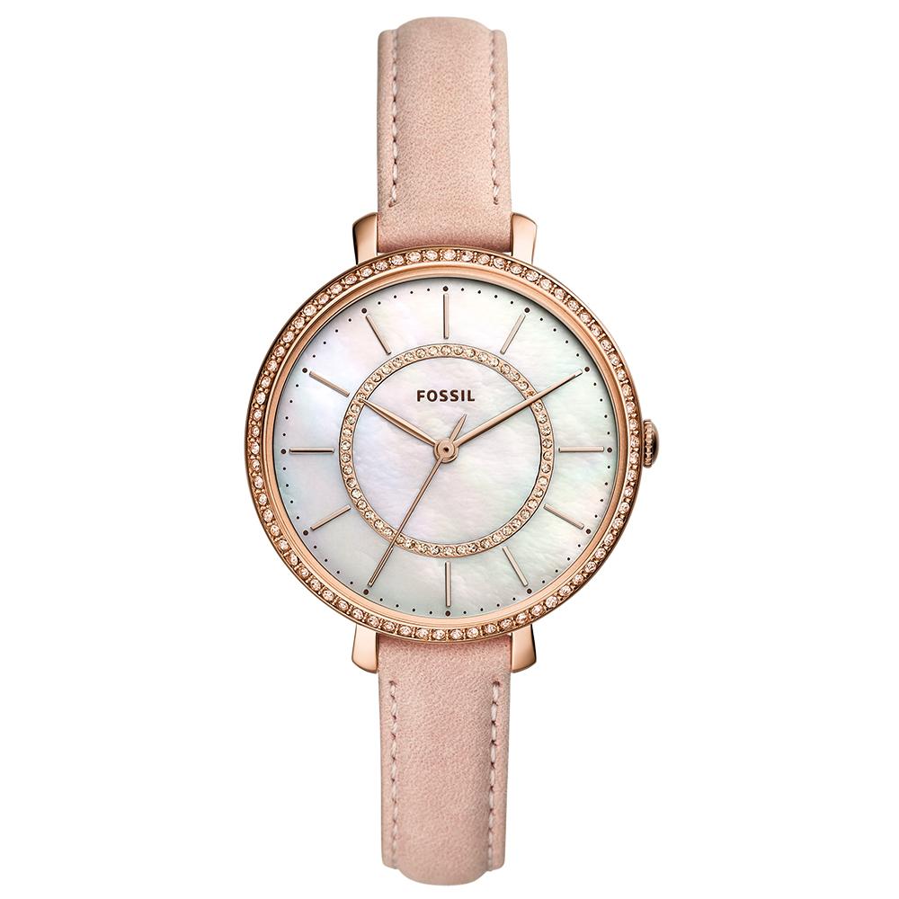 FOSSIL 驚艷全場美鑽雙錶圈女錶(ES4455)-白貝面x36mm