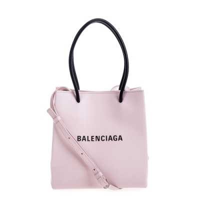 Balenciaga 新款Shopping Phone Holder XXS 粉底黑字Logo手提/肩背包