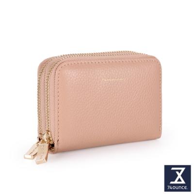 74盎司 Tender Lady 真皮防RFID雙層卡片零錢包[LN-765-TE-W]粉橘