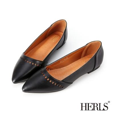 HERLS平底鞋-內真皮方塊鏤空尖頭鞋平底鞋-黑色
