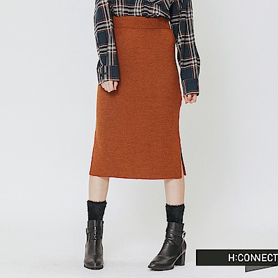 H:CONNECT 韓國品牌 女裝-側開岔針織中長裙-棕